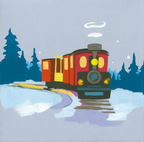 """Oriģinālglezna """"Ziemassvētku vilcieniņš"""""""
